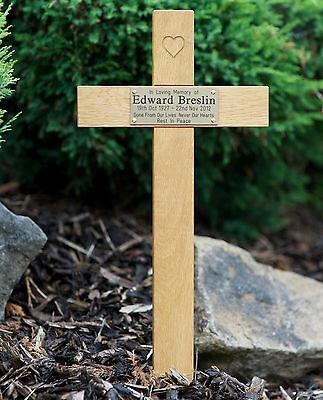 "24"" Carved Heart Oak Cross Memorial Grave Marker Custom Engraved Plaque Included 8"