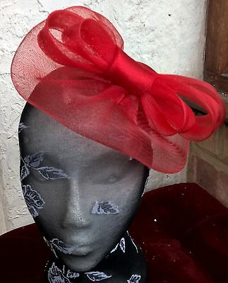 bright red fascinator millinery burlesque wedding hat ascot race bridal 1 2