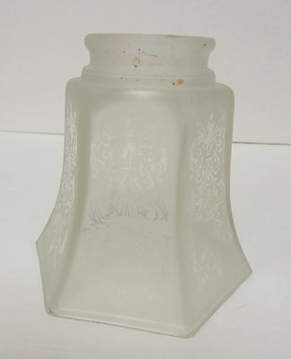 "Vintage Antique Frosted Glass Lamp Shade Victorian Heavyweight 4.25""T"