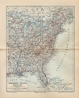 LANDKARTE MAP 1909: 5 Karten im Set: VEREINIGTE STAATEN UND MEXIKO ...
