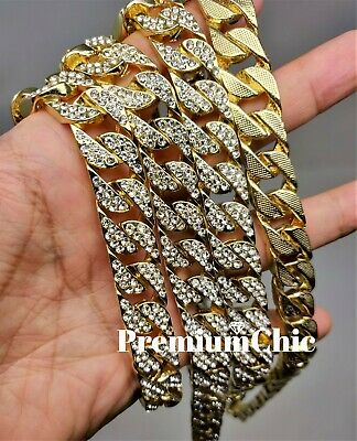 """ICED Miami Cuban Choker Chain Necklace Hip Hop Mens Gold Silver 14mm 16"""" - 30"""" 4"""