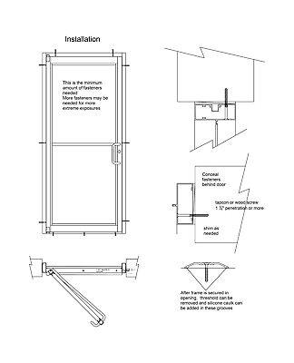"COMMERCIAL ALUMINUM STOREFRONT DOOR, FRAME & G1 CLOSER 3'0"" x 7'0"",BRONZE FINISH"