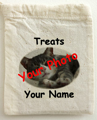 Cotton Treat Bag - Personalised with your Cats Photograph and Name 2