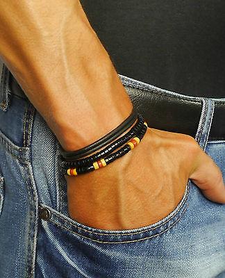 SURFER AUSTRALIA Herren Leder Armband Wickelarmband Perlen Geschenkidee NEU 3