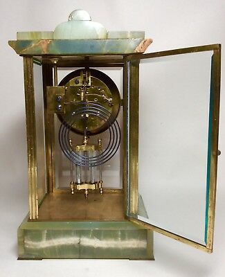 Late 19th Century French Green Onyx 4 Glass Striking Clock with Mercury Pendulum 6