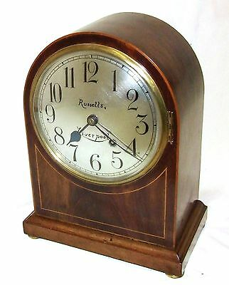 W & H Winterhald Antique Inlaid Mahogany Bracket Mantel Clock RUSSELLS LIVERPOOL 2