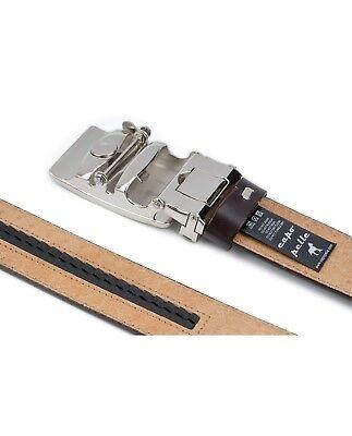 Brown Automatic buckle belt Genuine leather Ratchet Men's Adjustable Capo Pelle 4