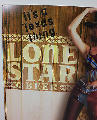 2000 ORIGINAL Lone Star Beer Sign Texas Cowgirl in Chaps Store Display Stand Up