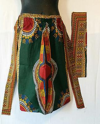 15af8baf6 ... Ankara African Women Midi Skirt Dashiki Print 2 Pocket & Belt Free Size  H Green 3