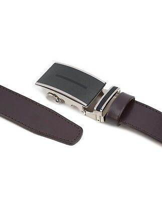 Brown Automatic buckle belt Genuine leather Ratchet Men's Adjustable Capo Pelle 2