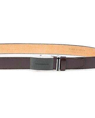 Brown Automatic buckle belt Genuine leather Ratchet Men's Adjustable Capo Pelle 8