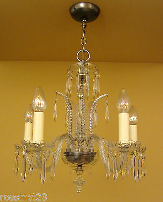 Vintage Lighting antique 1930s Art Deco crystal chandelier   High Quality 7