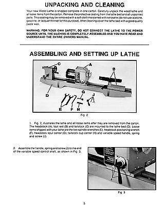 "Delta 12/"" Vari Speed Wood Lathe 46-700 Operator /& Parts Manual #852"