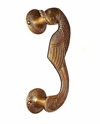 A Pair of beautiful Ethnic Brass made Curved Peacock Door Handles from INDIA 3