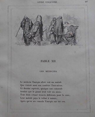 G.Dore1889/2 Blatt Holzschnitte zu LES MEDICINS:Fabeln de la Fontain.Drucksign. 10