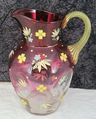 Antique Victorian Era Bohemian Czech Cranberry Enameled Art Glass Water Pitcher 3