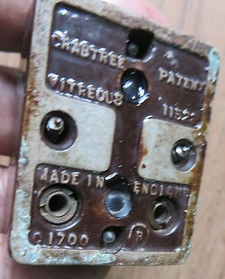 Vintage PORCELAIN BASE BAKELITE TOGGLE LIGHT SWITCH CRABTREE 4 PCS RECTANGULAR