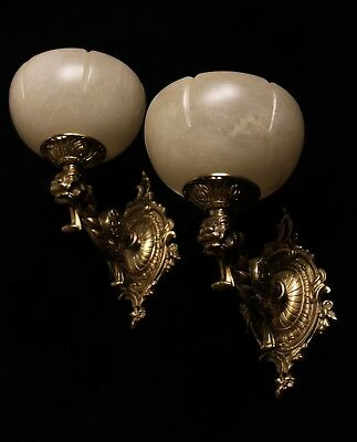 single solid bronze & white real alabaster wall lights sconces with lion head 8