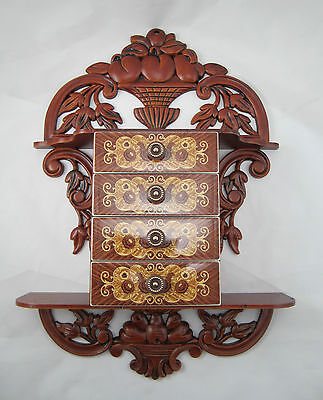 CONSOLE with Jewelry box Schmuckbox 45x32x8 antique Baroque Repro with 4 drawers 3