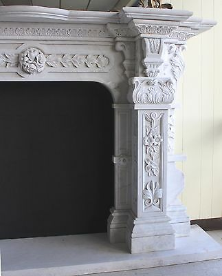 Hand Carved Carerra Marble Country French Monumental Fireplace Mantel Columns 10