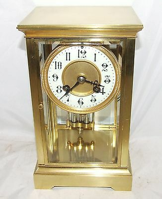 Antique French Four Glass Brass Striking Bracket Mantel Clock CLEANED & SERVICED 3