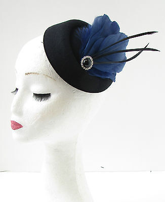 Black Navy Blue Feather Pillbox Hat Fascinator Vintage Races Headpiece 1920s 9AE 3