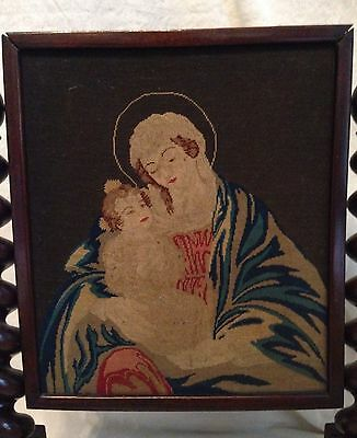 Antique 1800's English Spindle Fire Screen Needlepoint Picture VIRGIN MARY JESUS