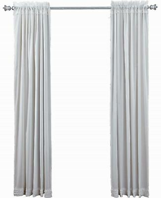 """84"""" Long White Sheer Ruffled Window Curtains Romantic Cottage Cotton 2 Panels 4"""
