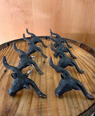8 BLACK STEER BULL DRAWER CABINET PULL HANDLE KNOB VINTAGE-STYLE WESTERN decor 2
