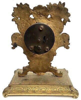 Lovely Antique German Ormolu Strut / Easel Mantel Clock 4
