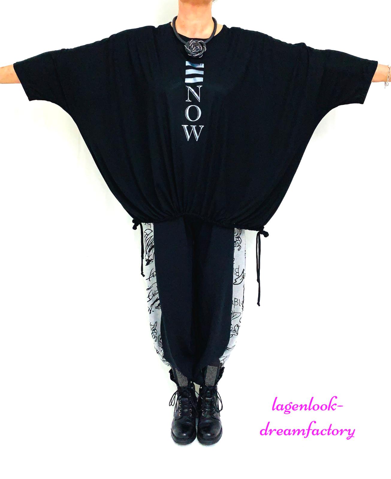 Lagenlook Oversize Blogger Kasten-Shirt Noir Smiley-Strass 46 48 50 52 56 58