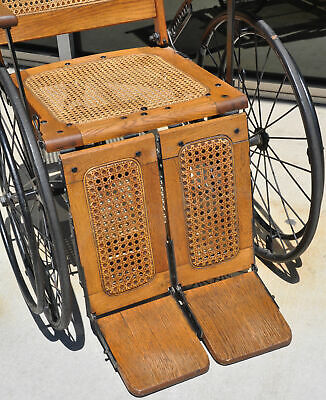 Antique Cane Back Wheelchair Oak Metal Three Wheel Chair Old 520 C Adjustable 2