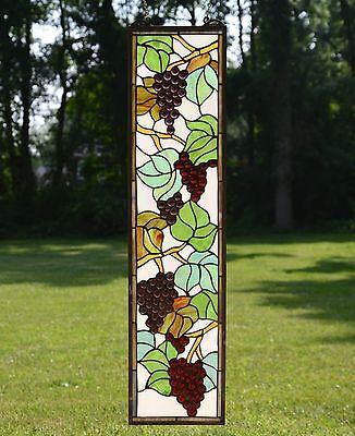 "9"" x 36"" Tiffany Style stained glass window panel flower Grape w/ Vine 5"