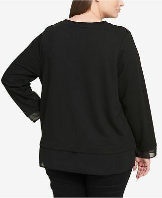 Tommy Hilfiger Womens Plus Jewel Neck Illusion Sweatshirt Black 1X 2