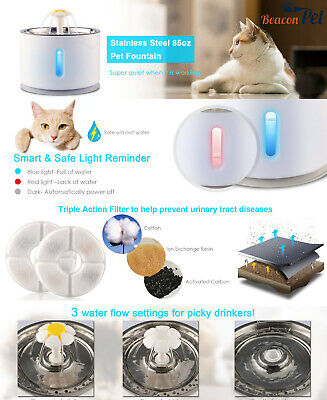 2.4L Automatic Electric Pet Water Fountain Cat/Dog Drinking Dispenser w/ Filter 2