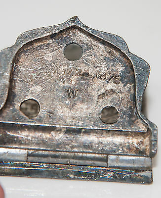 Vintage nickel? ornate 1800's one swing hinge plate 3
