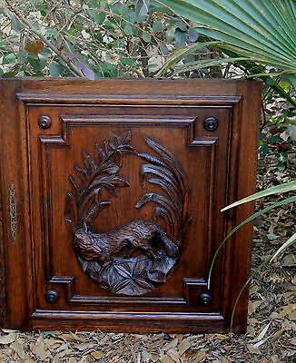 Antique French Oak Black Forest FOX Architectural Hanging Wall Panel Door #1 3