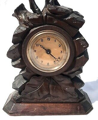Antique Carved Ibex Black Forest Bracket / Mantel Clock 6