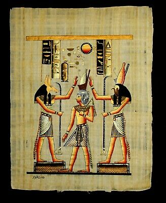 Rare Authentic Hand Painted Ancient Egyptian Papyrus Ramses II Crowning 12