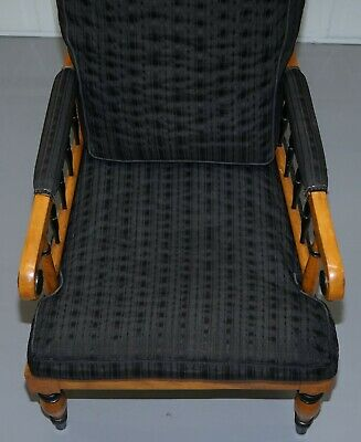 Antique Satin Birch Wood Swedish Biedermeier Library Reading Armchair Ebonished 4