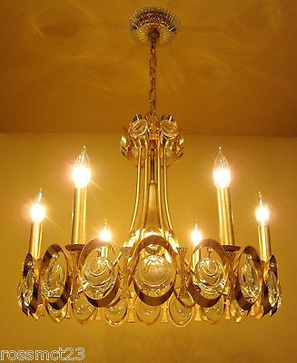 Vintage Lighting extraordinary 1970s Sciolari 24K gold crystal chandelier 2