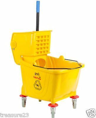 36 Quart Yellow Commercial Wet Mop Bucket & Wringer Combo