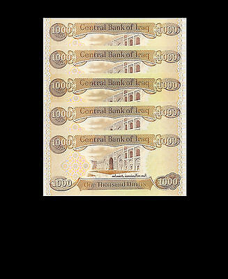 New Uncirculated 5,000 New Iraqi Dinar 5 X 1,000
