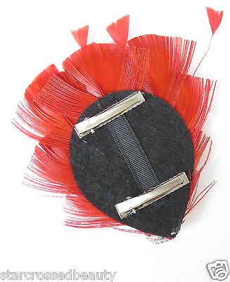 Red Peacock Feather Vintage Fascinator 1920s 1940s Races Hair Clip Art Deco P62 8