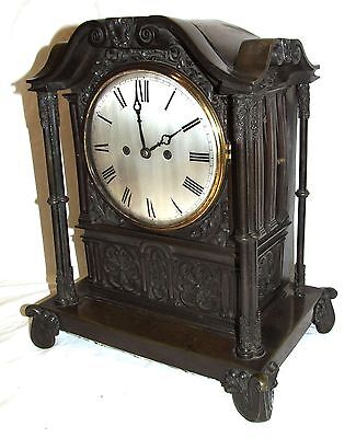 Antique Gothic BRONZE Twin Double Fusee Bracket Mantel Clock CLEANED & SERVICED 3