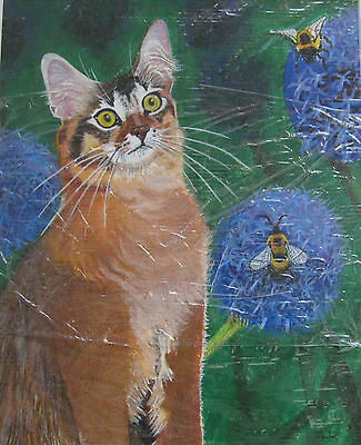 "C77    Original Acrylic Painting By Ljh       ""Pinkie""   Sphynx  Cat 9"