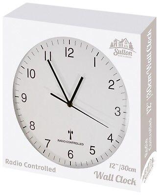 Sutton Large Round White Modern Minimalist Home Wall Mounted 30cm Clock Quartz
