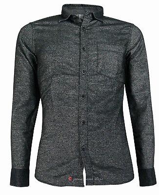 Camicia in flanella uomo manica lunga Slim Fit taschino blu nero tg S M L XL XXL 2