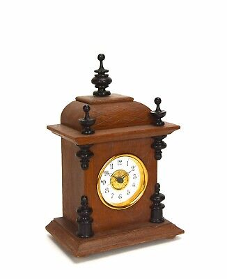 Miniature German Style Carved 3 Finial Bracket Clock with Porcelain Dial 2