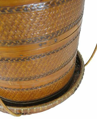 Chinese Antique Bamboo Food Box w Basket 8